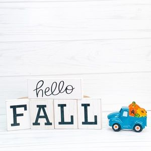 Hello fall wood blocks and blue light up truck